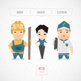 Builder Engineer & Electrician Characters