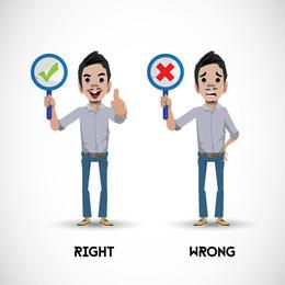 Personagem, mostrando, direita, errado, sinais