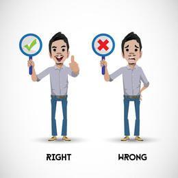 Zeichen, das rechte falsche Zeichen zeigt