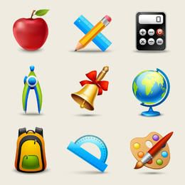 Glossy realistische Bildung Icon Pack