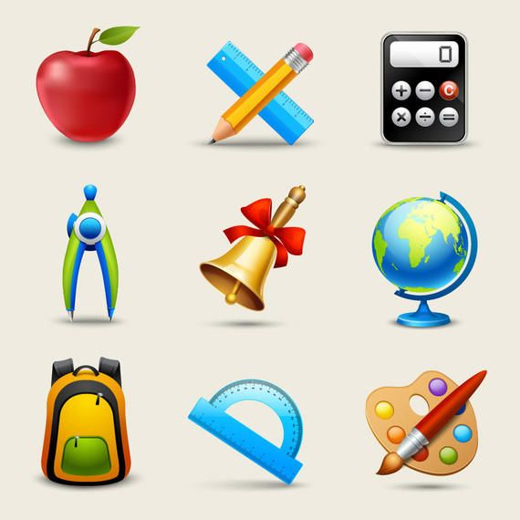 Glossy Realistic Education Icon Pack