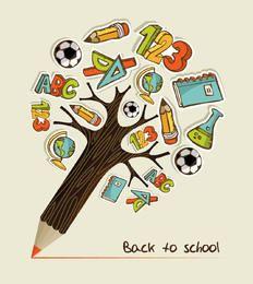 Árvore de lápis com ícones de educação