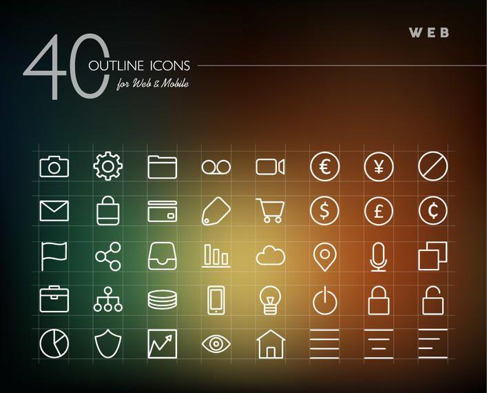 Line Art Web Icon Set
