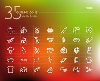 Food Icon Pack Esquema