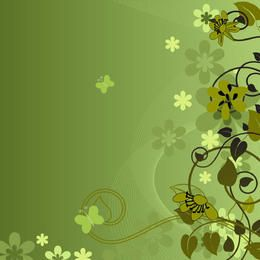 Floral abstrato redemoinhos fundo verde