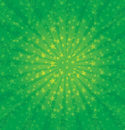 Green Sunburst with Stars & Swirls