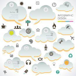 Nuvens infográfico abstratas com ícones