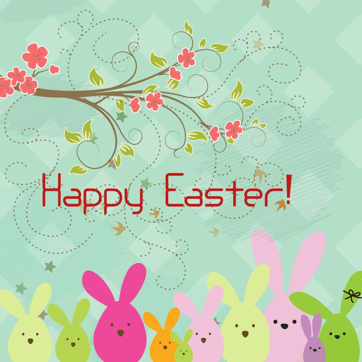 Abstract Happy Easter Cartoon Background