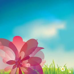 Pink Flower on Gras with Blue Sky