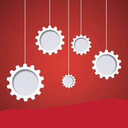 Hanging Gears on Red Background