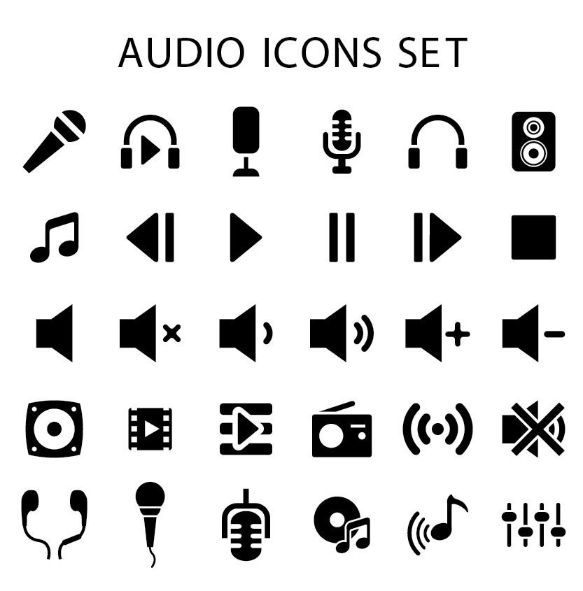 Flat Audio Icons Pack ...
