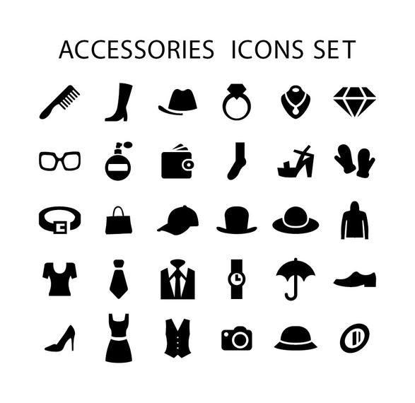 Men Women Fashion Accessories Icons Vector Download