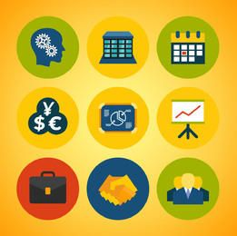 Abstract Business Icons Colorful Circles