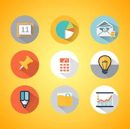 Colorful Diagram & Business Icons