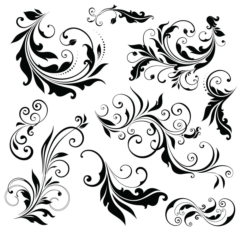 Simple floral ornament set vector download for Design ornaments
