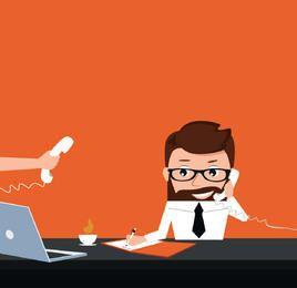 Empresários ocupados trabalhando o personagem de desenho animado
