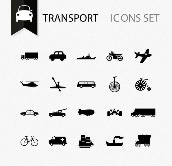 Vários ícones de transporte mínimo