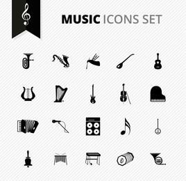 Black & White Instrumento Musical Icons