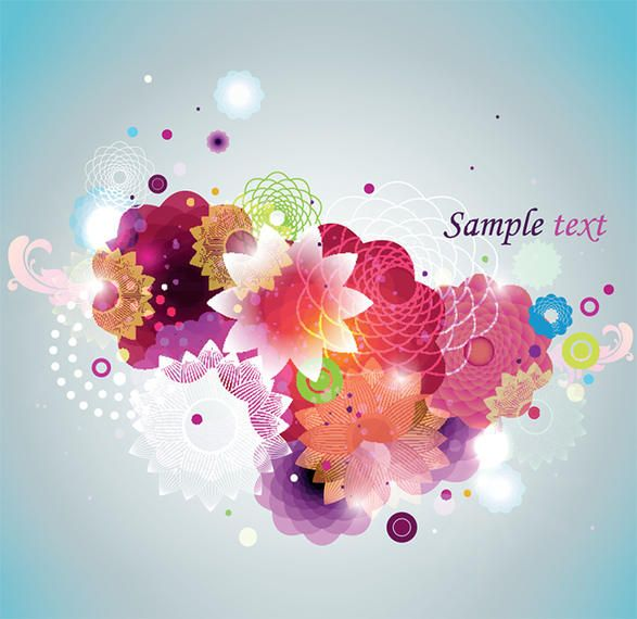 Colorful Abstract Splashed Floral Background