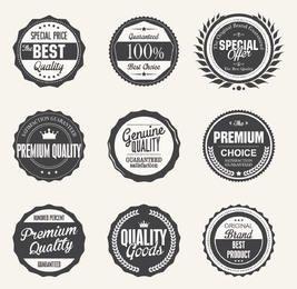 Emblemas de qualidade preto & branco vintage