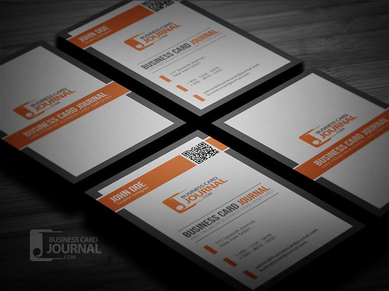 Orange black qr code business card vector download by business card journal reheart Images