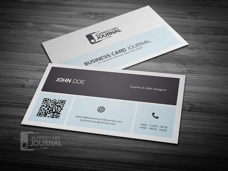 Simplistic business card with qr code vector download image user fbccfo Images