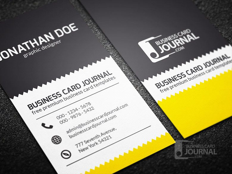 Zigzag design vertical business card vector download by business card journal accmission Choice Image