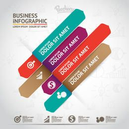 Business Infographic with Multicolored Strips