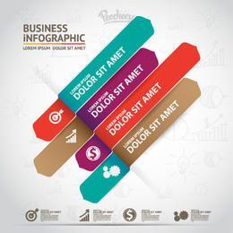 Infográfico de negócios com tiras multicoloridas