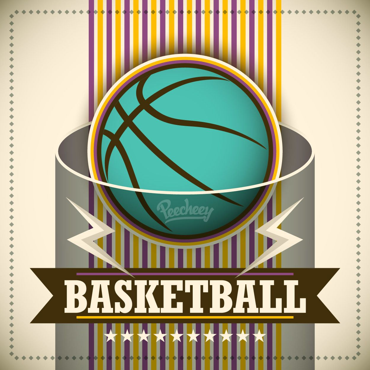 Plantilla del baloncesto del cartel del vintage - Descargar vector