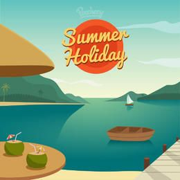 Summer Holiday Resort Cartoon