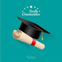 Graduation Cap with Scrolled Diploma