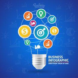 Bombilla idea en forma de infografía de negocios