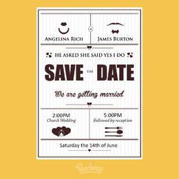Plantilla simple de la invitación de boda del vintage