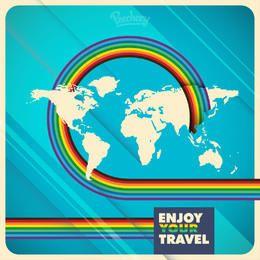 Mapa del mundo del arco iris rayas fondo de viajes