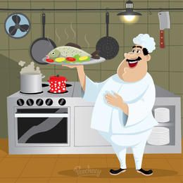Chef cocina de la historieta Carácter