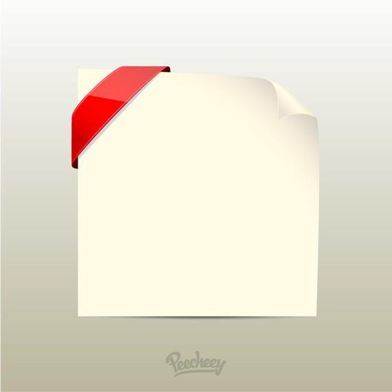 Rizado borde de papel con etiqueta roja
