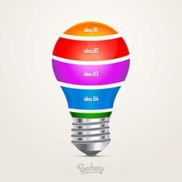 Infográfico de lâmpada colorida