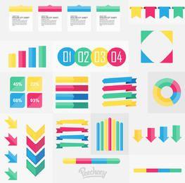 Infografía mínima colorida y elementos web