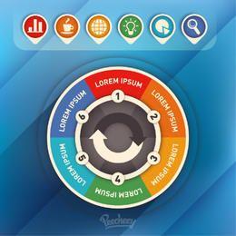 Infografía circular colorido con iconos
