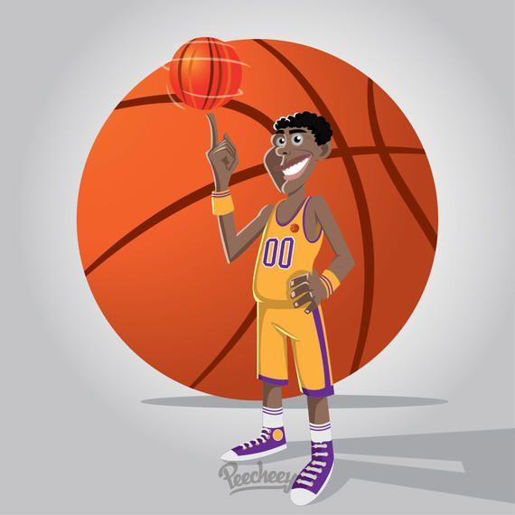 Jogador de desenhos animados de basquete Funky