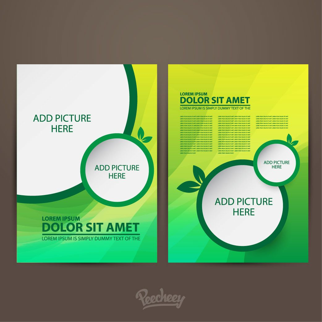 Two sided green brochure template vector download for Free templates for brochures and flyers