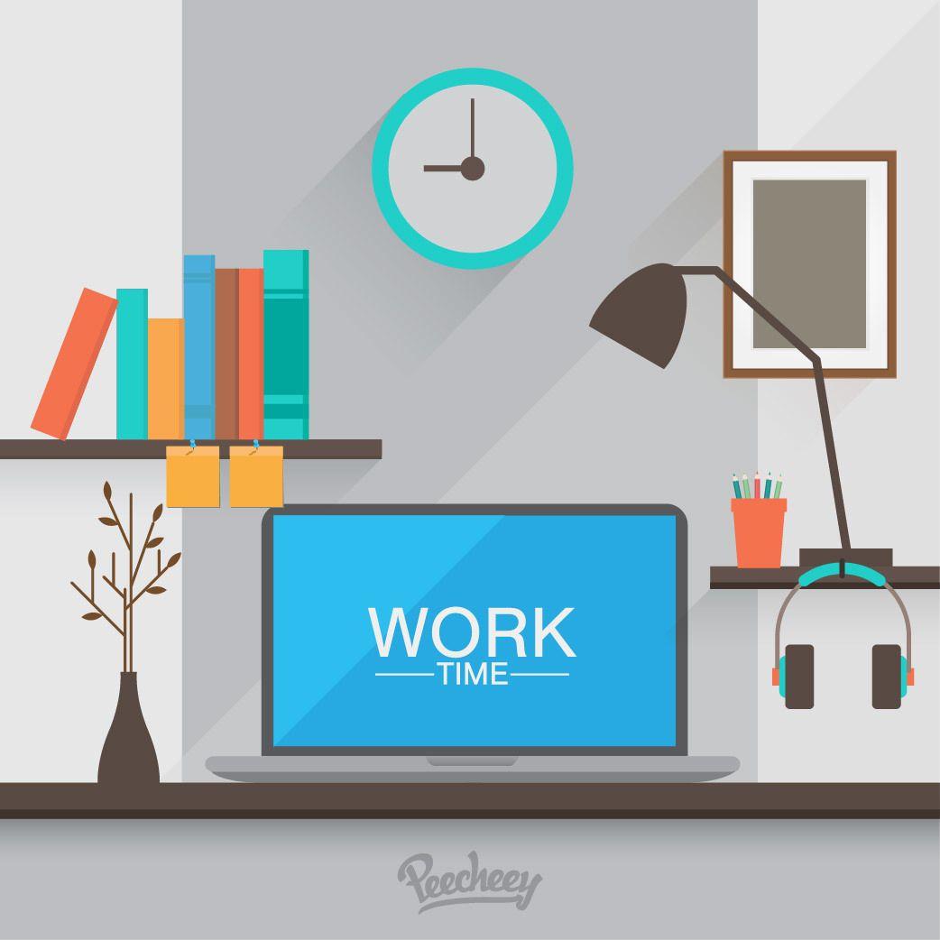 Workspace Cartoon Computer Desk Vector Download