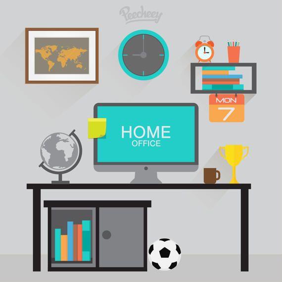 Work Desk Home Cartoon With Pc Vector Download