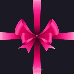 Glossy Pink Realistic Ribbon Bow