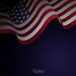 Waving American Flag Blue Background
