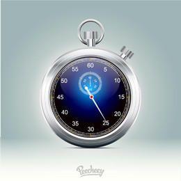 Cronômetro de aro metálico brilhante