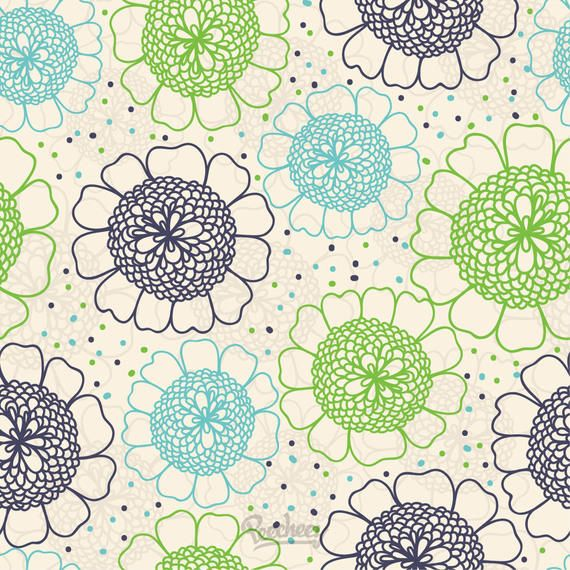 Abstract Seamless Vintage Floral Pattern