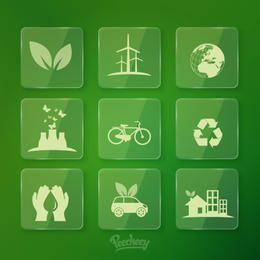 Fluoreszierendes Ökologie-Glas-Icon-Pack
