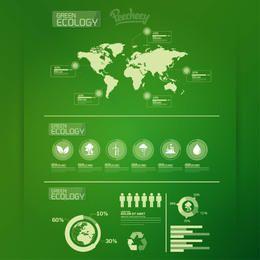 Infografía de ecología con iconos de mapa